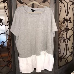 Plus size 26/28 gray and white tee. NWOT